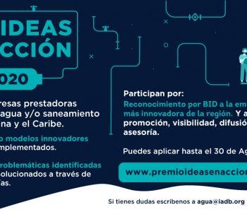Ideas en acción 2020: buscamos a las empresas de agua y saneamiento más innovadoras